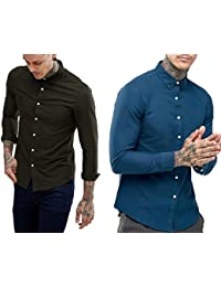 NxtSkin Solid Casual Wear Full Sleeves Shirt For Men's - Combo Of 2 Shirts