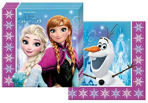 Procos 86757 - 20 Servietten Papier Disney Frozen Northern Lights, Mehrfarbig, Uni