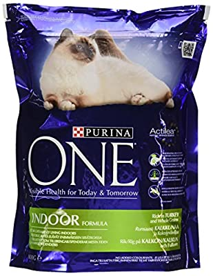 Purina ONE Indoor Dry Cat Food Turkey and Wholegrain 800g - Case of 4 (3.2kg) from Nestlé Purina