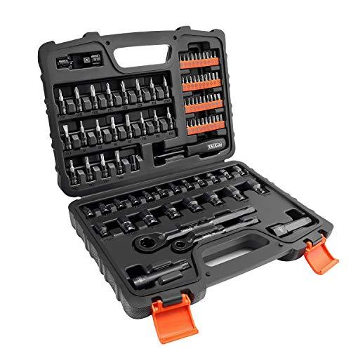 Steckschlüsselsatz, TACKLIFE 88-tlg. Durchsteck-Steckschlüssel, mit verschiedenen Zubehör der offenen Bauweisen, 1/4-Zoll und 3/8-Zoll durchgänigen Ratschenschlüssel - SWS2A
