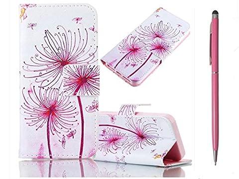 KSHOP Etui PU cuir style livret pour Samsung Galaxy J5(2016) Housse Flip PU Sac de téléphone Case Etui en cuir Porte-documents avec fonction de support magnétique Résistant aux chocs Motif Peint-rouge pissenlit+ Rouge Crayon tactile