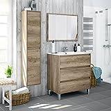 Miroytengo Lote mobiliario baño con Mueble de 3 cajones, Espejo a Juego, lavamanos de cerámica y Columna...
