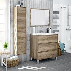 Miroytengo Lote mobiliario baño con Mueble de 3 cajones, Espejo a Juego, lavamanos de cerámica y Columna Auxiliar Alta con estantes Interiores