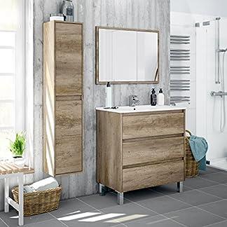 51yRMRAPqoL. SS324  - Miroytengo Lote mobiliario baño con Mueble de 3 cajones, Espejo a Juego, lavamanos de cerámica y Columna Auxiliar Alta con estantes Interiores