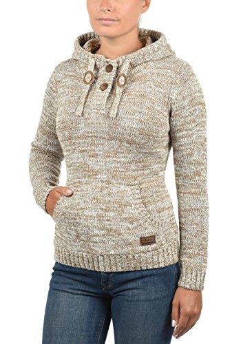 DESIRES Philaria Damen Strickpullover Hoodie Grobstrick mit Kapuze aus 100% Baumwolle Meliert Dune (5409)