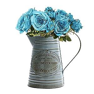 Brownrolly Vintage Metall Krug Blumenvase mit Griff, Shabby Fass Gießkanne Pflanzgefäße Blumentöpfe Blumengestecke Halter für Hochzeit Zuhause Bar Dekoration B