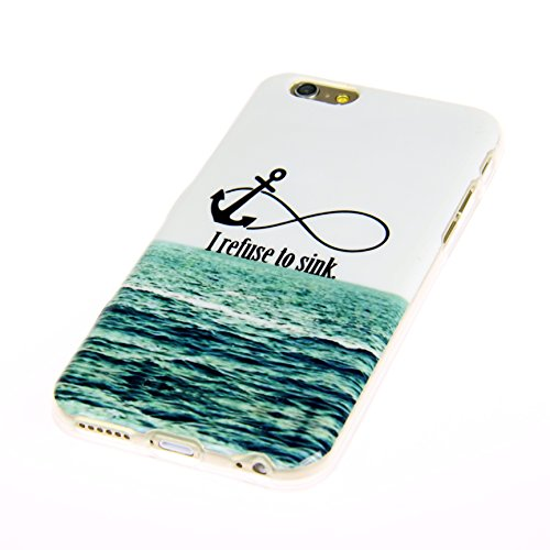 "Handy Lux® Schutz Hülle Etui Silikon TPU Cover Case Design Motiv für Apple iPhone 6 (4,7"") - Keep Calm and Carry on UK I refuse to sink"