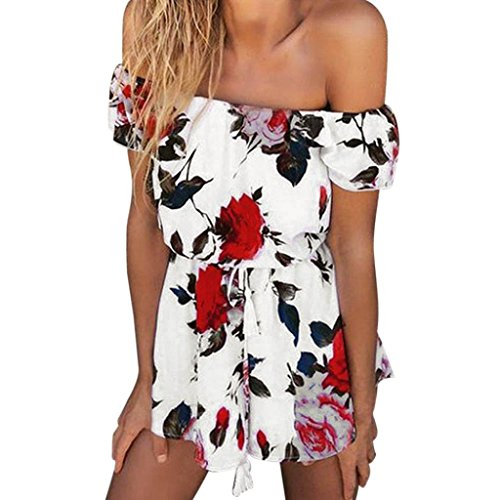 Jumpsuit damen Kolylong® Frauen aus Schulter elegant Blumen gedruckt Overall Sommer Strandkleid Strapless backless Spielanzug Bodysuit Bluse (M, (Strapless Bodysuit)