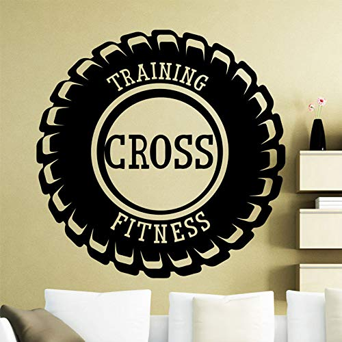 yaoxingfu Reifen Muster Training Fitness Kreuz Entfernbare Wandaufkleber Für Gymnasium Hintergrund Kunst Dekor Vinyl Aufkleber Schlafzimmer weiß 57X57 cm