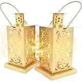 Nexplora Industries Decorative Lantern Tealight Candle Holder Gold Set Of 2