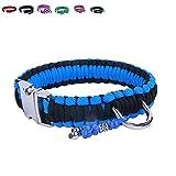 BelloBand Hundeleine Set aus Paracord / Führleine mit Hundehalsband für große Hunde / Farbe: Schwarz/Blau / 50cm ø