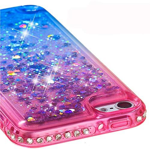 Ranyi iPod Touch 6 Hülle, iPod Touch 5 Hülle, Farbverlauf fließender Flüssigkeit Glitzer Bling Diamant Strass Quicksand Flexible Silikon Hülle für Apple iPod Touch 5 6. Generation rosa/blau - Touch-bling