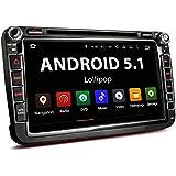 VW-06AEU VW / SEAT / SKODA / Android 5.1 Autoradio / Moniceiver Naviceiver mit GPS Navigation + unterstützt WiFi Funktion + Bluetooth Freisprechfunktion & Musikwiedergabe + 8 Zoll / 20 cm Bildschirm ( Touchscreen Display) + Audio und Video über USB Anschluss (bis 2TB) & Micro SD Kartenslot (bis 128 GB) + Interne Speicherkapazität 16 GB + Anschlüsse für Rückfahrkamera, Lenkradfernbedienung und Subwoofer + Doppel DIN / 2 DIN Standard Einbaugröße inkl. GPS-Antenne