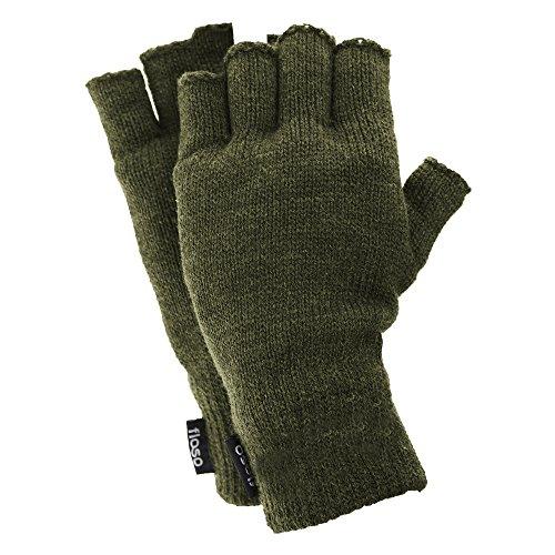 Floso® Halbfinger Herren Thermo Handschuhe(3M 40g) (Einheitsgröße) (Olive)
