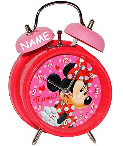 Unbekannt Kinderwecker -  Disney Minnie Mouse  - incl. Name - für Kinder - großer Wecker - Metall / Kunststoff - für Mädchen - Analog - Quarzwecker - Alarm - Tischuhr..