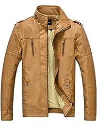 Zicac Men's Vintage Stand Collar Fleece Lined PU Leather Biker Jacket