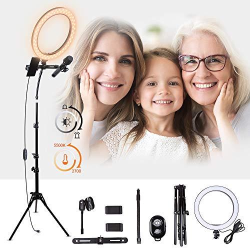 """K&F Concept Ring Light 10"""" Anneau Lumière avec Pied 140 cm 2 Adaptateurs pour Téléphone Porte-Micro Tube Souple Télécommande Bluetooth pour Vidéos Photo Maquillage Youtube Diffusion en Direct"""