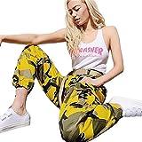 Lenfesh Damen Camouflage Hose Mädchen Military Hose Hip Hop Jogger Trainingshose (S, Gelb)
