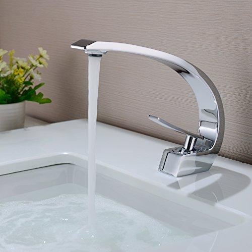 BONADE Wasserfall Messing Chrom Einhebel-Waschtischarmaturen Mischbatterie Wasserhahn Bad Armatur für Badezimmer Waschbecken