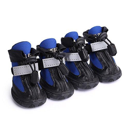 Hundeschuhe, Tauchen Gewebe wasserdicht rutschfeste Hund Stiefel Reißverschluss reflektierende Strap verschleißfeste Gummisohlen vier Jahreszeiten Pet Regen Schuhe für Outdoor-Sport große mittlere kleine Hunde Schuhe 2 Farbe & 10 Größe ( Color : Blue , Size : N10 )