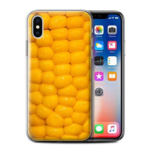 Stuff4 Gel TPU Hülle / Case für Apple iPhone X/10 / Oliven Muster / Lebensmittel Kollektion Maiskolben
