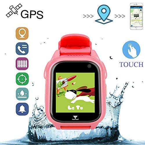 Relojes Ninos GPS con Posicionamiento de La Estación Base GPS + LBS Relojes Inteligentes Alarma de Emergencia SOS Smartwatch Niños IP67 Reloj Smartwatch Niños con Cámara y Album de Fotos Pulsera de Actividad Inteligente Despertador (Rosa)
