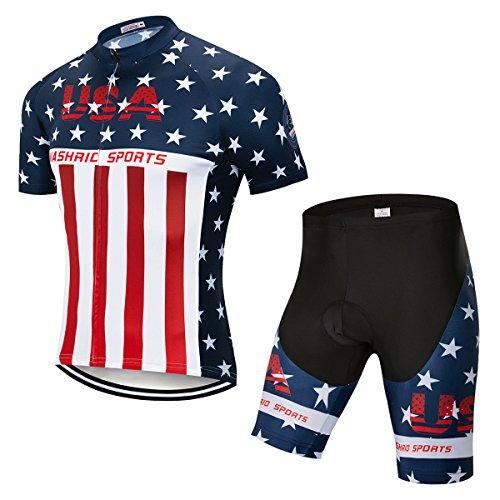 NASHRIO Herren Fahrradtrikot, kurzärmlig, 4D-gepolsterte Gel-Kleidung, voller Reißverschluss, schnelltrocknend, atmungsaktiv, Herren, usa, Medium=US Small -
