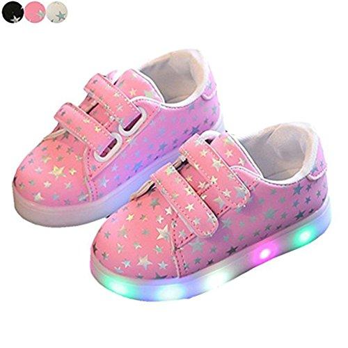 LED-Schuhe Kinderschuhe, Stillshine - Mädchen / Jungen, Kinder Baby Running School Schuhe Bunte fluoreszierende Schuhe Flash rutschfeste schöne Leder Freizeitschuhe (25, Pink)