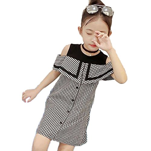 FOANA Girl Princess Dresses, Children Baby Girl Plaid Print Sleeveless Princess Party Dress Casual Clothes for Girls