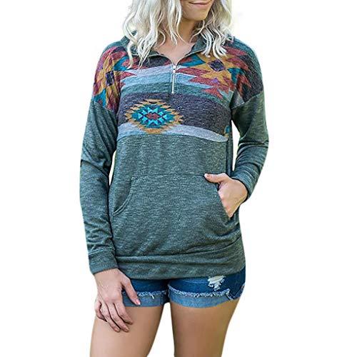 (OSYARD Langarmshirts Damen, Mode Damen Lange ÄRmel Drucken Taschen Zipper Sweatshirt Pullover Bluse Tops (XL, Grün))