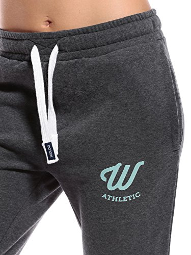 WOLDO Athletic Damen Jogginghose Jogger Trainingshose Sweatpants Sporthose Freizeithose Gym Fitness Hose Slim Fit schmal eng Clark / dunkelgrau/mint