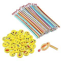 Idea Regalo - LATERN 80 Pcs Set riempire il sacchetto del partito dei capretti, matite elastiche morbide e flessibili Emoji Smile Gomme con piega magica Giocattoli Divertimento scolastico Attrezzature fisse