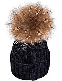 9f79e952cd85 MMTX Femmes Côtes dhiver Tricot Chapeaux Hedging Casquette Bonnet Chaud en  Plein Air De Mode Chapeau avec Chunky Fausse…