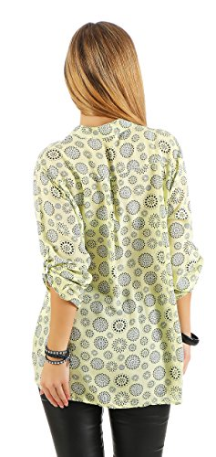 ZARMEXX beau t-shirt à manches longues Viskosebluse motif tunique mandala blouse d'été en forme légère à manches longues chemise Fischer régulière jaune