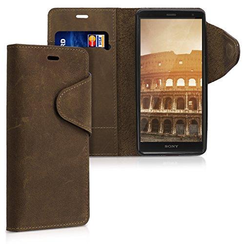 kalibri-Hlle-fr-Sony-Xperia-XZ2-Echtleder-Wallet-Case-Schutzhlle-mit-Fach-und-Stnder-in-Braun