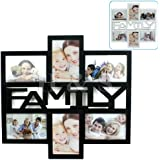 H&S® Multi Collage Photo Picture Large Frame 4 x 6 Aperture Wall Black White - Family (Black)