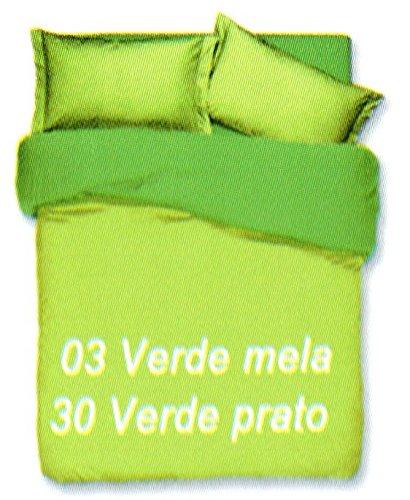 Copripiumino sacco copripimino 2 federe double face tinta unita art. cobra matrimoniale 2 piazze 255x230 cm colore verde mela/verde prato