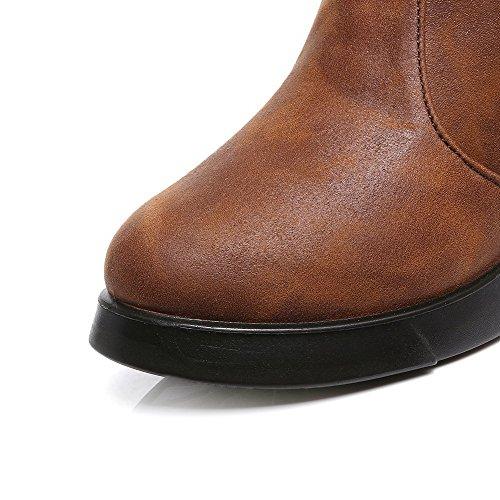 AgooLar Damen Pu Leder Rein Hoher Absatz Reißverschluss Stiefel mit Metallisch Braun