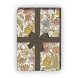 Kartenkaufrausch Wunderbares florales Geschenkpapier Set (4 Bogen), Dekorpapier, Papier zum Einpacken mit leichten Blüten, grün, für tolle Geschenk Verpackung und Überraschungen 32 x 48cm