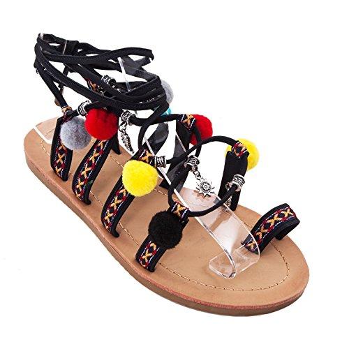 Toocool - Scarpe donna sandali flat ciabatte ponpon infradito schiava pompon nuove F017A-73 Nero