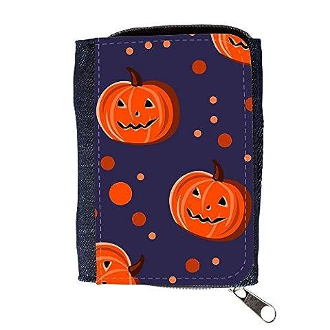 Portemonnaie Geldbörse Brieftasche // V00002078 Halloween-Kürbisse und Punkte // Purse Wallet