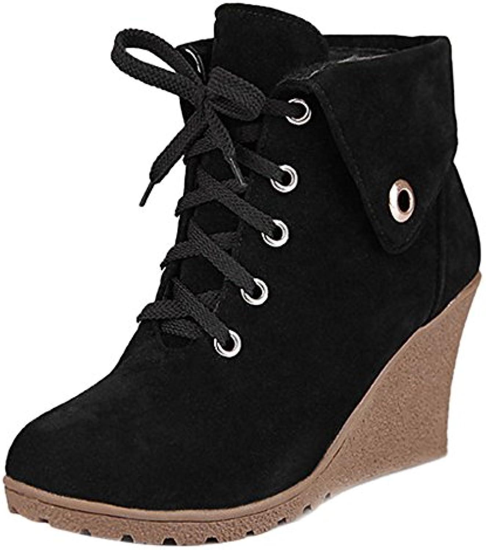COOLCEPT Mujer Clasico Botas de Cuna Cordones Zapatos, Black, 34 EU - 34 Asia