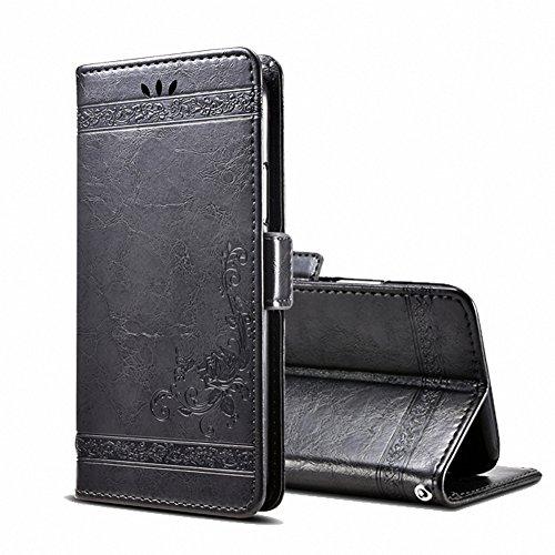 GH GHawk Leder Brieftasche Case für Ulefone Gemini Pro/T1 Leder Brieftasche Case, 3D-Retro-Druck Keine Verschmutzung PC + PU Leder Hülle Flip Tasche Schutzhülle Case