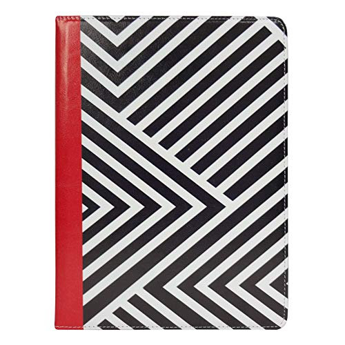 Emartbuy Smart Hard Back Flip Stand Wallet Cover for LLLccorp 10 Inch Android Tablet PC : Size (9-10 Inch) - Black/Red Stripes