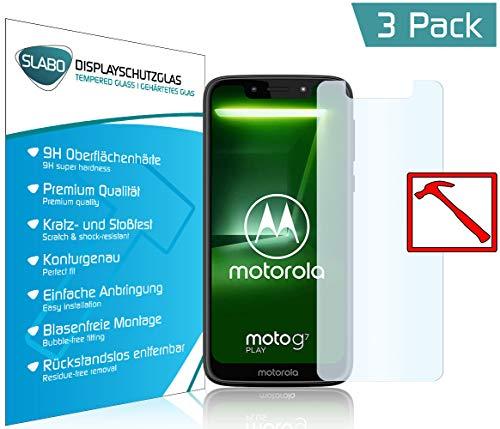 Slabo 3 x Premium Panzerglasfolie für Motorola Moto G7 Play Panzerfolie Schutzfolie Echtglas Folie Tempered Glass KLAR 9H Hartglas