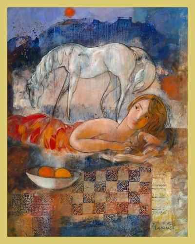 Bild mit Rahmen Marc Hanniet - L'instinct des libertes - Digitaldruck - Holz gold, 30 x 37.5cm - Premiumqualität - Liegende Frau, Schimmel, Pferd, Traumwelt, Harmonie, Freiheit, Obstschale, Nachtszene - MADE IN GERMANY - ART-GALERIE-SHOPde