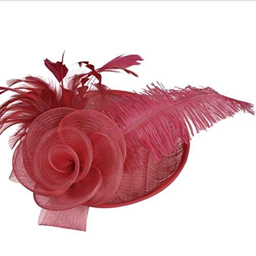 TUDUZ Blume Mesh Bänder Federn Hochzeit Party Kopfbedeckung Hut für Mädchen und Frauen Kostüm Karneval Fasching (Weinrot)