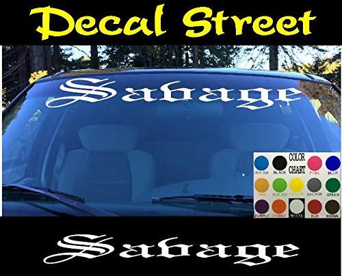 CELYCASY Savage Vinyl-Aufkleber, lustiger Honda Euro Drift Visor Banner Auto Truck Diesel SUV Old English Lettering -