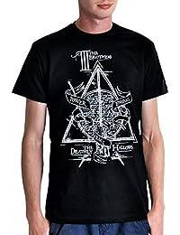 T-shirt Harry Potter les 3 frères conte Peverell coton noir