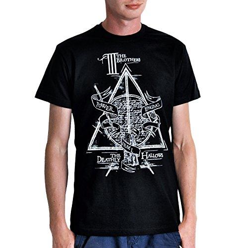 Los Tres Hermanos camiseta Peverell de cuento algodón negro